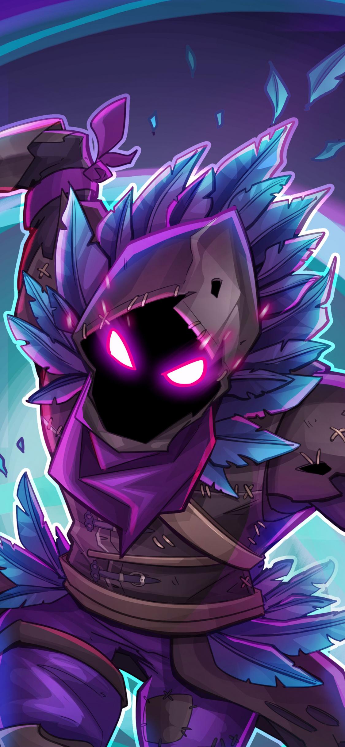 Download 1125x2436 Wallpaper Raven Fortnite Battle Royale