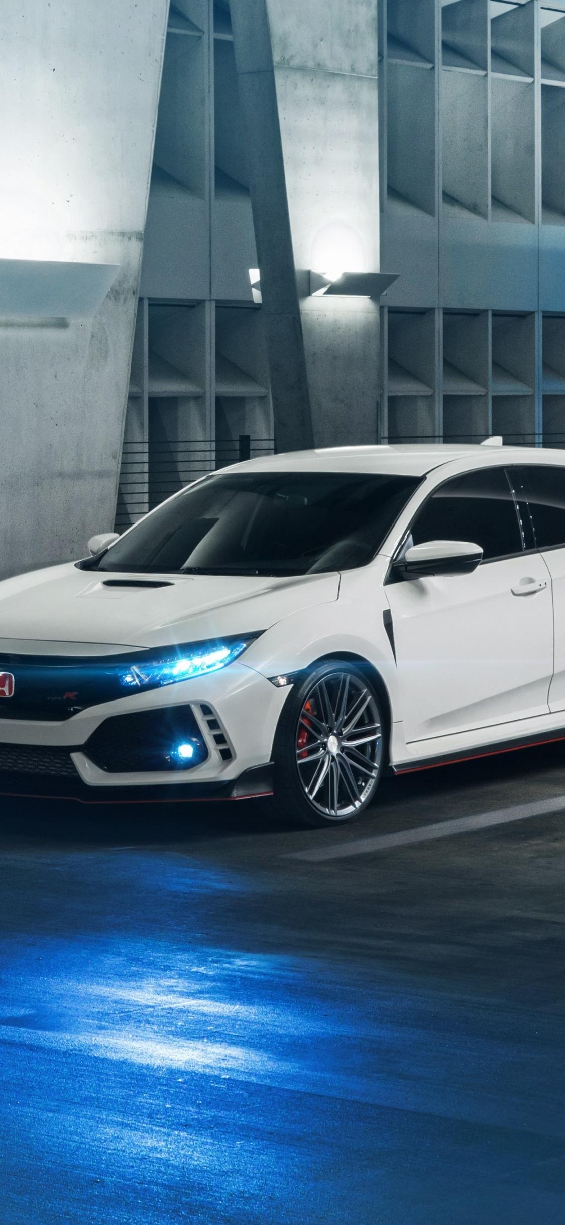 Download 1125x2436 Wallpaper White Honda Civic Type R Car
