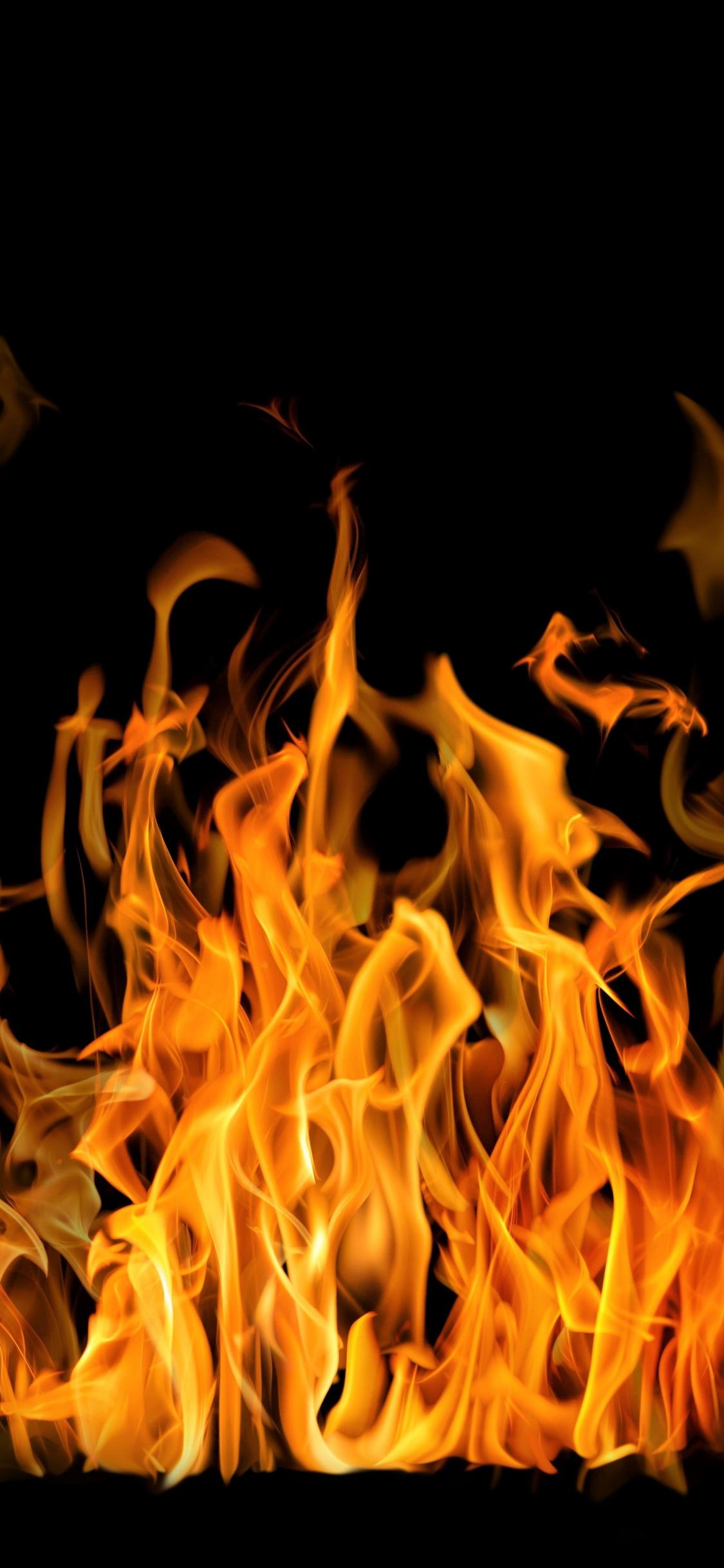 Download 1125x2436 Wallpaper Fire Flames Dark Iphone X