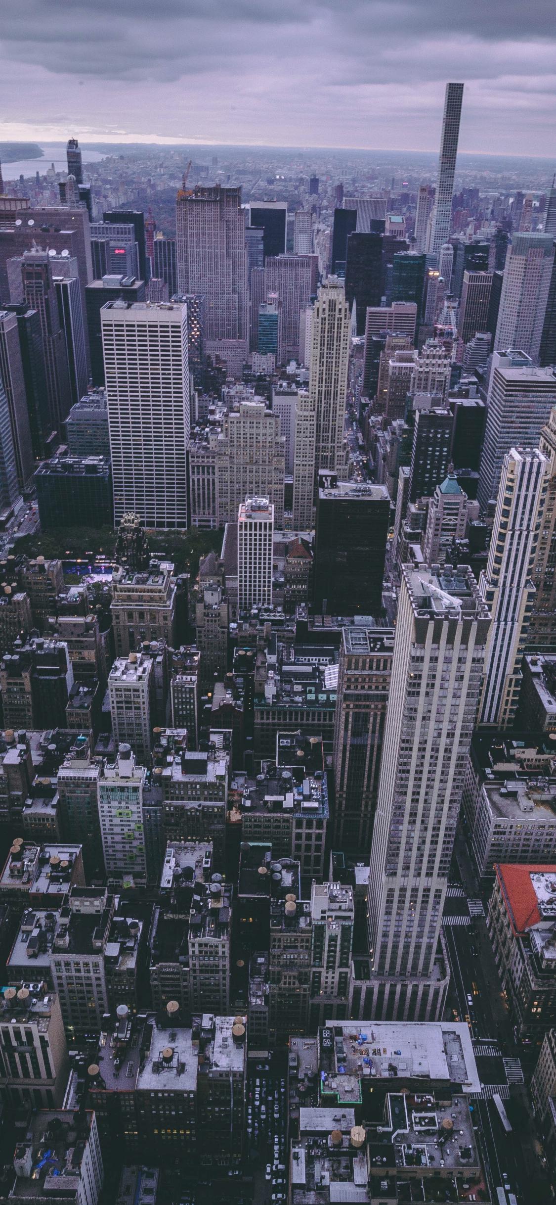 New york, city, buildings, aerial view, 1125x2436 wallpaper