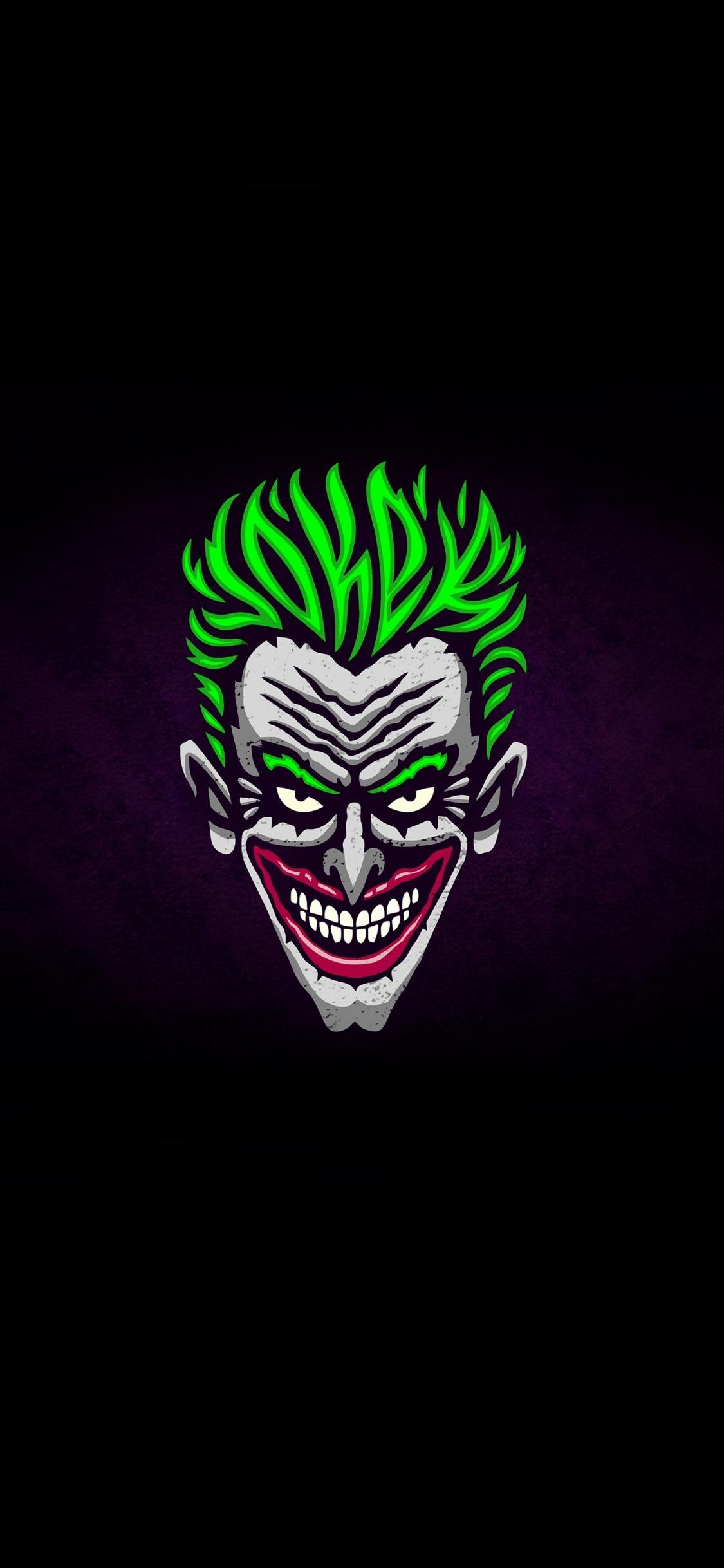 Download 1125x2436 wallpaper joker, face, green hair