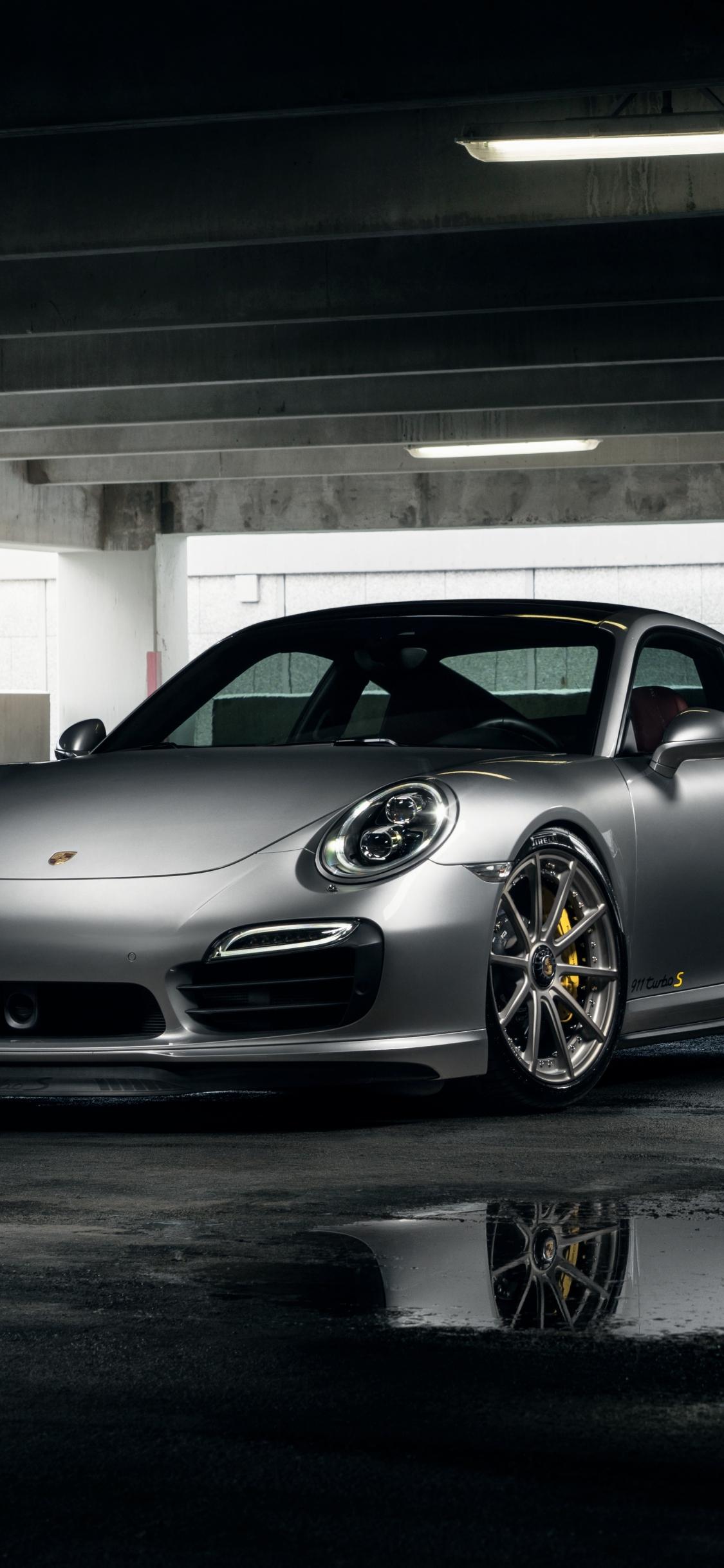 Download 1125x2436 Wallpaper Porsche 911 Turbo Gray Sports Car