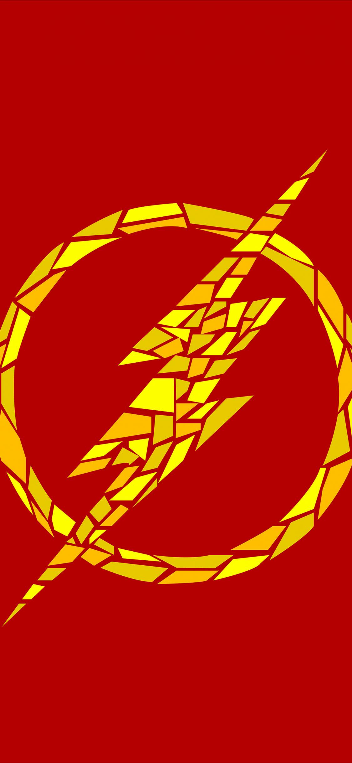 Download 1125x2436 Wallpaper The Flash Logo Mosaic Artwork