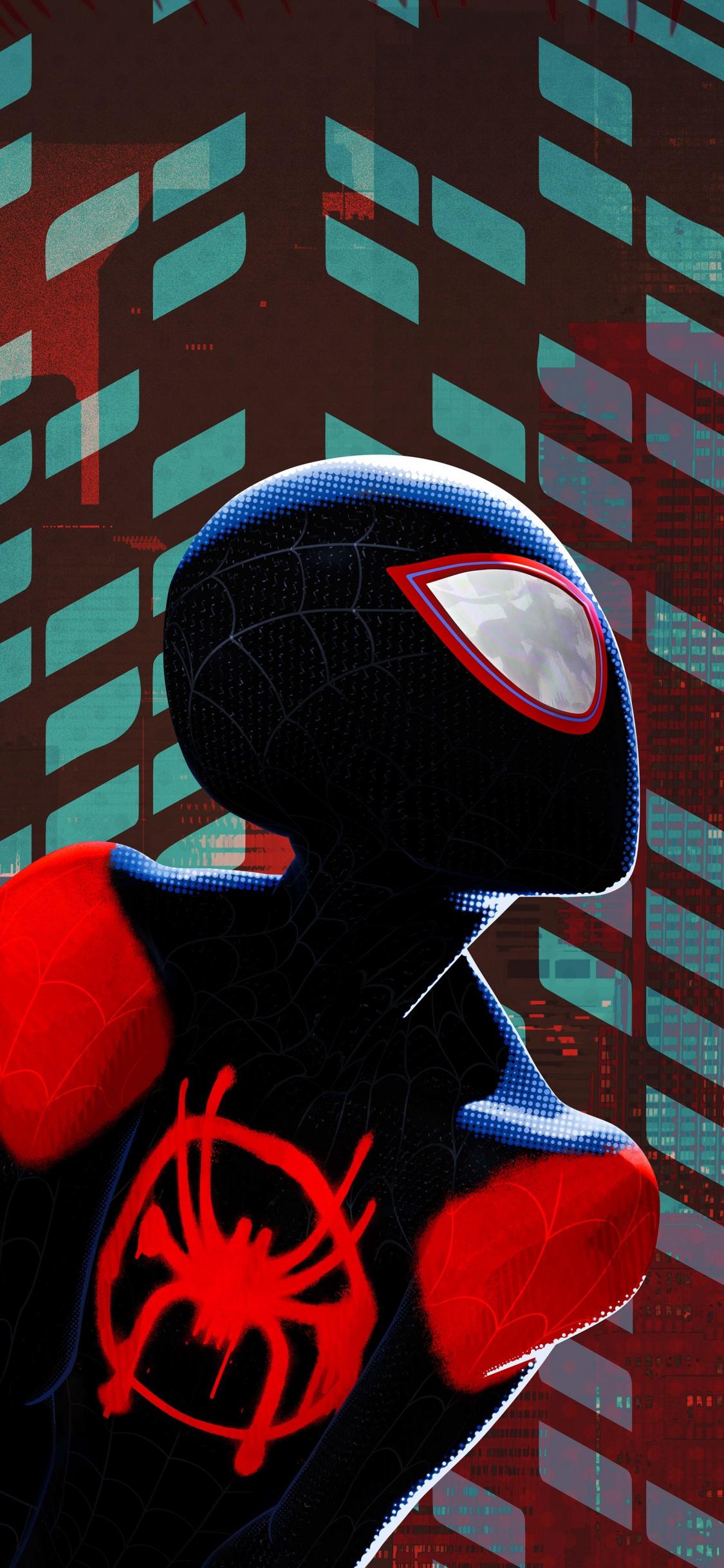 Download 1125x2436 Wallpaper Miles Morales Black Suit Spider Man
