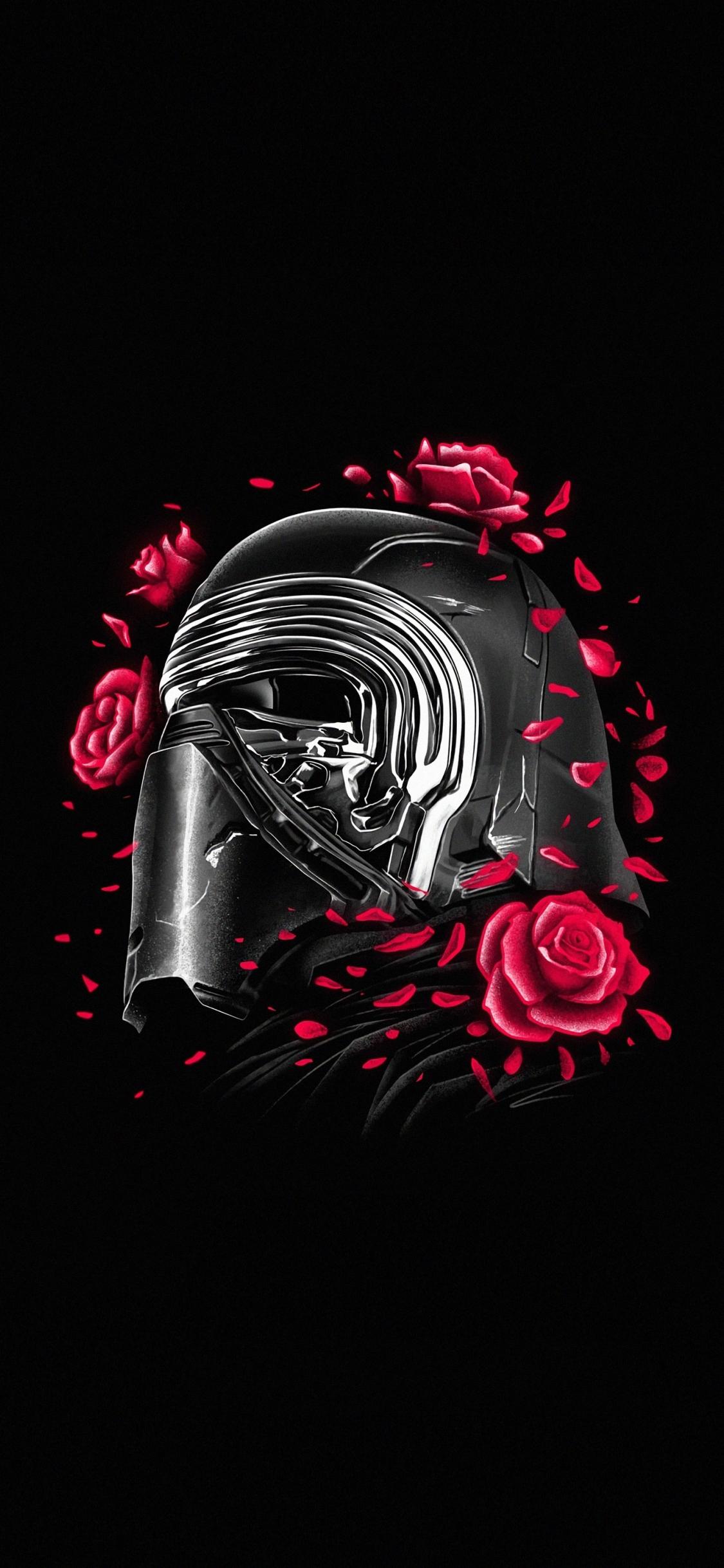Download 1125x2436 Wallpaper Kylo Ren Helmet And Roses