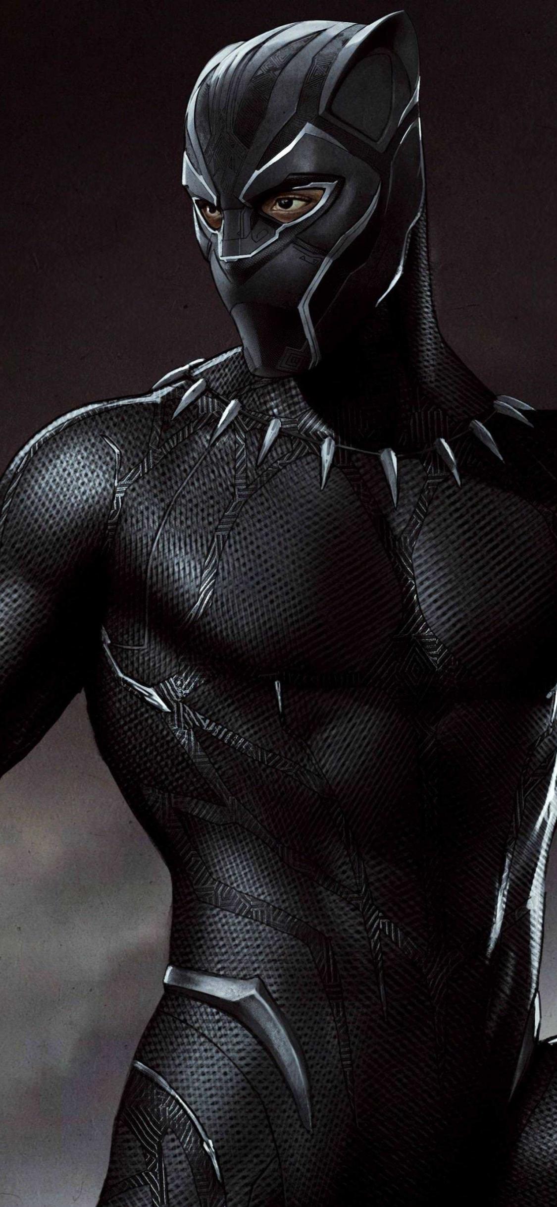Download 1125x2436 Wallpaper Art Black Suit Black Panther
