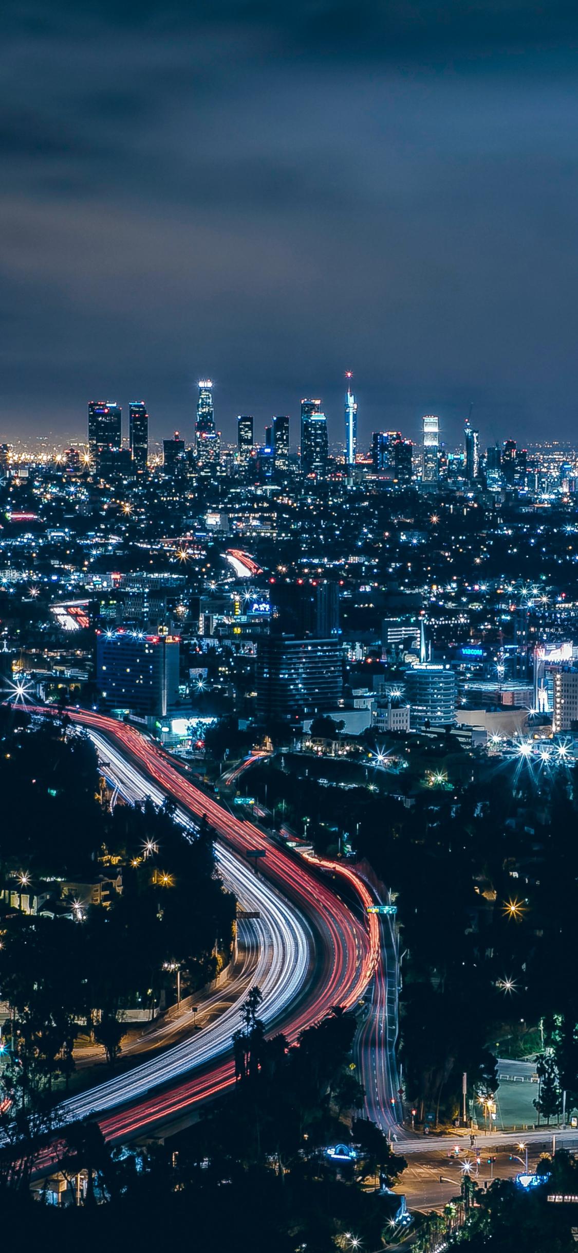 Download 1125x2436 Wallpaper Los Angeles City Skyscrapers