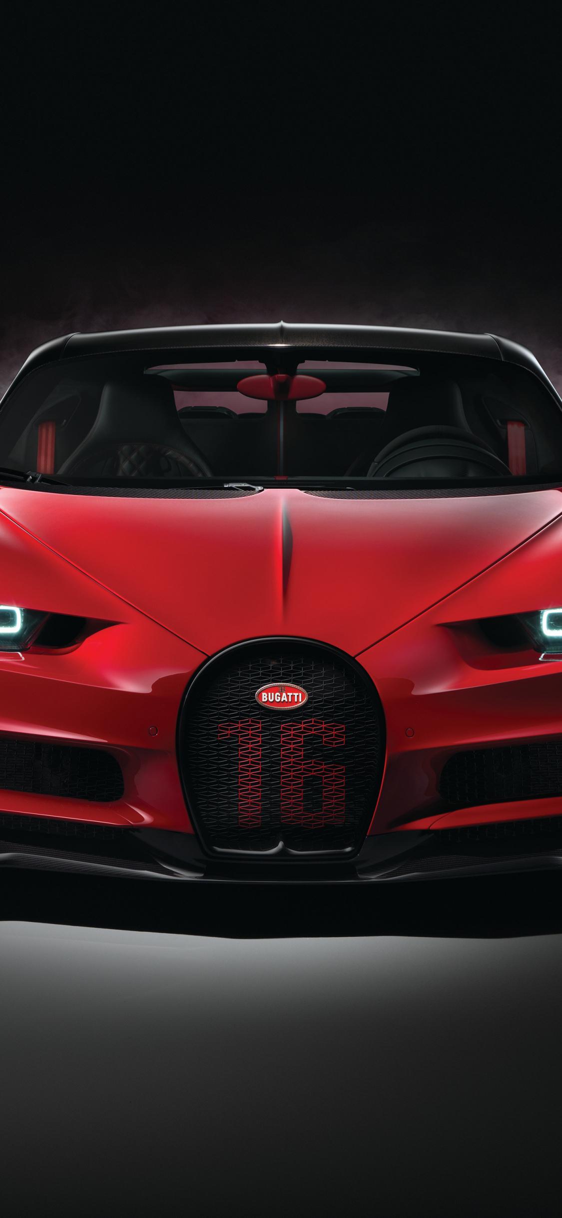 Download 1125x2436 Wallpaper Red Car Bugatti Chiron Sport Luxury
