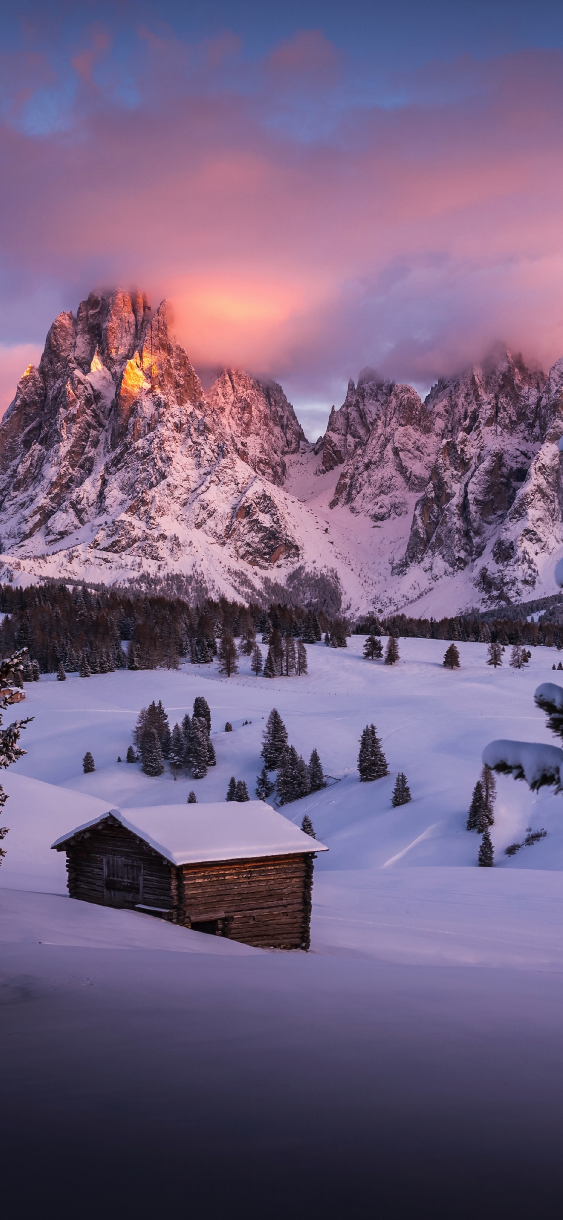 Download 1125x2436 Wallpaper Winter Cabin Landscape Nature Dawn Mountains Iphone X 1125x2436 Hd Image Background 3531