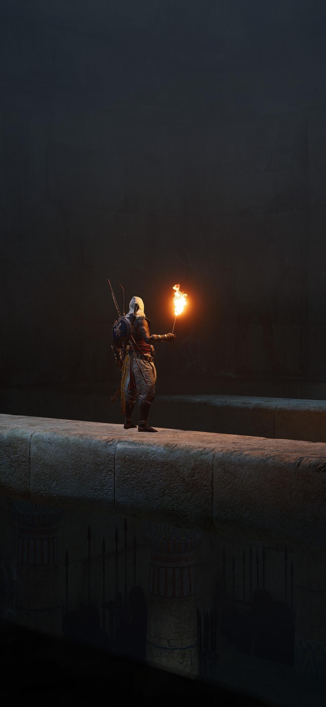 Download 1125x2436 Wallpaper Dark Assassin S Creed Origins Video