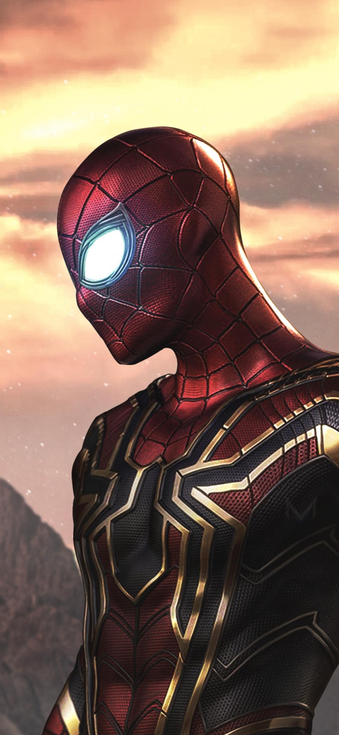 Download 1125x2436 wallpaper artwork, iron-spider, iron-man
