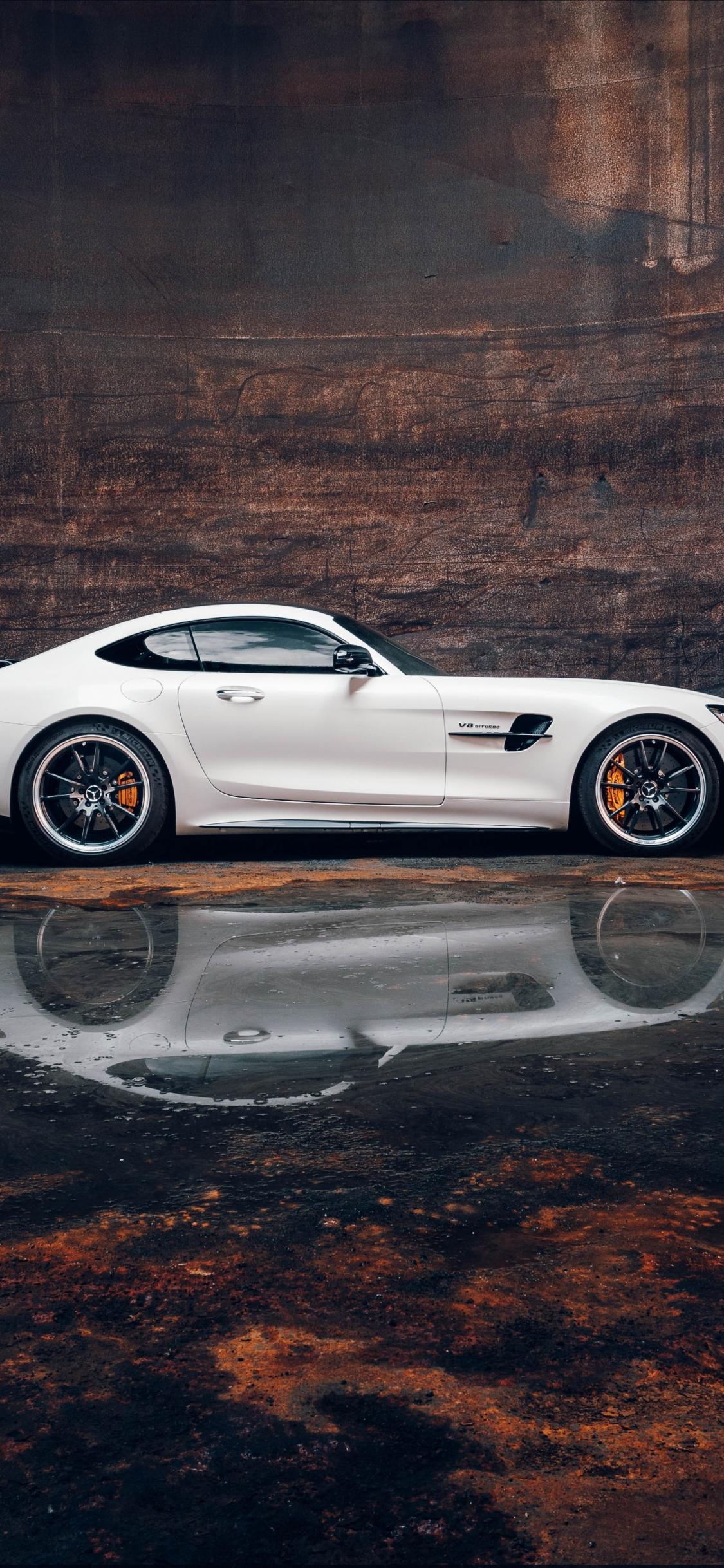 Download 1125x2436 Wallpaper Sports Car White Mercedes Amg