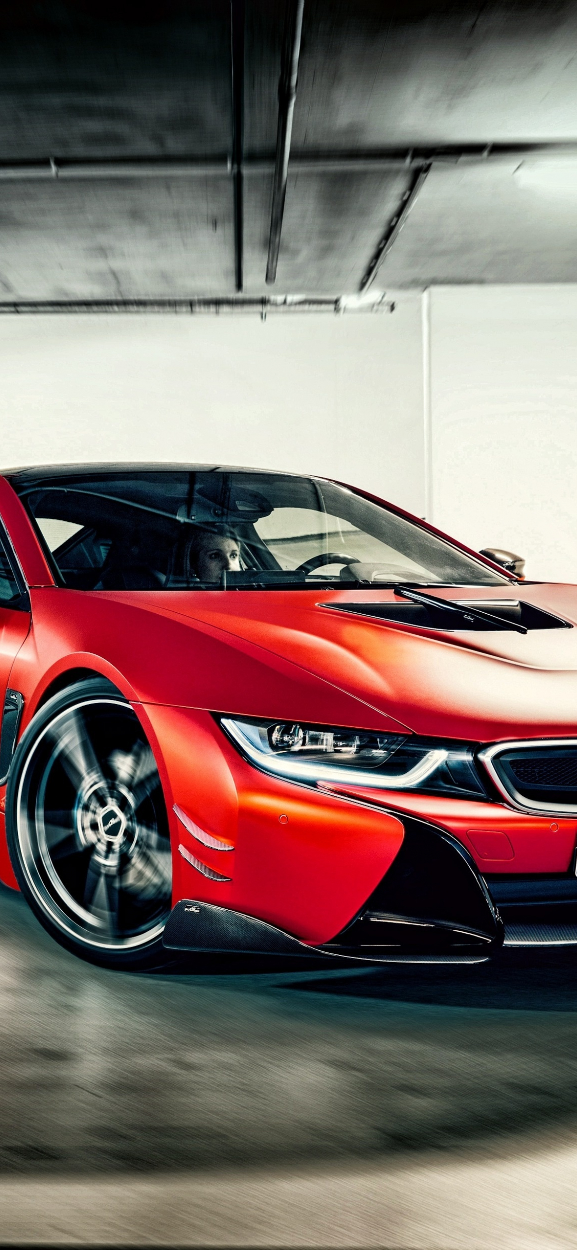 Download 1125x2436 Wallpaper Bmw I8 Red Luxurious Car