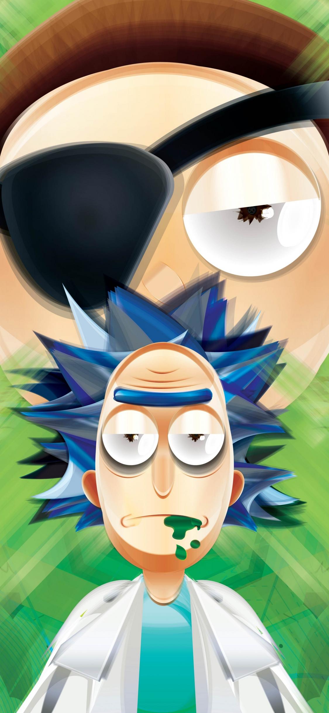 Download 1125x2436 Wallpaper Rick And Morty 2018 Vector