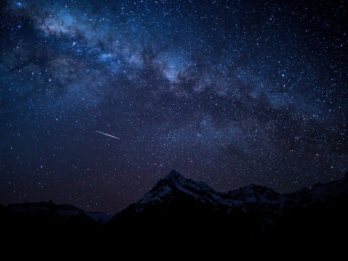 Starry sky, night, mountains, nature, 1152x864 wallpaper