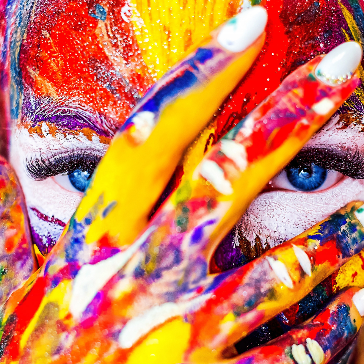 Paint on face and hand, colorful, close up, 1224x1224 wallpaper