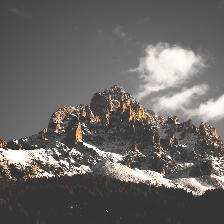 Mountain cliffs, nature, sky, clouds, tree, 1224x1224 wallpaper