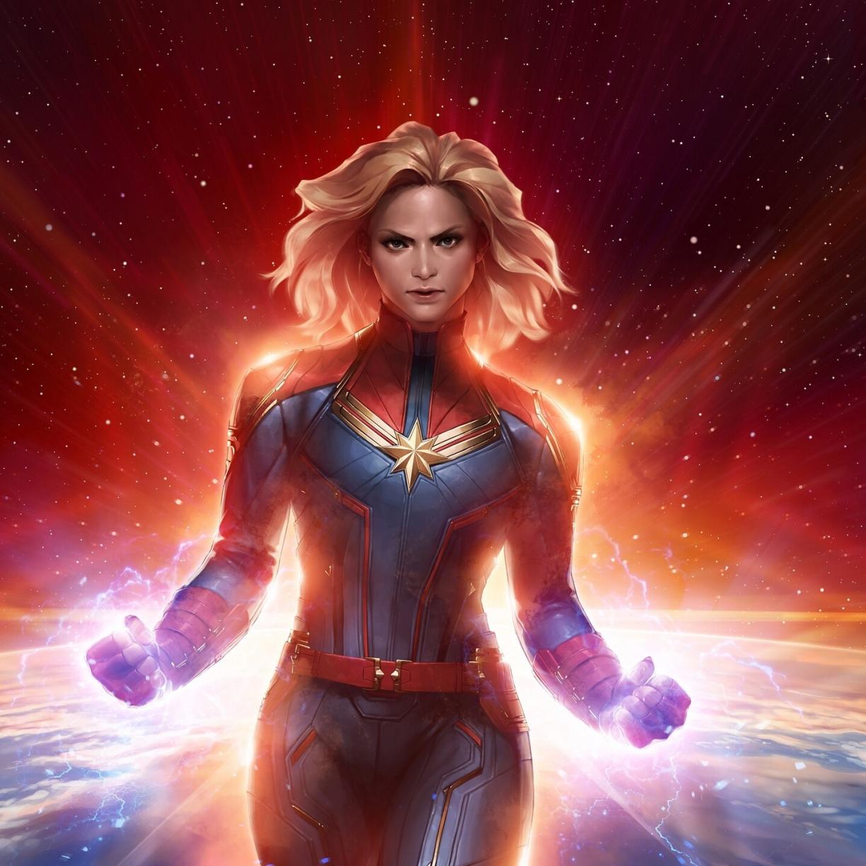 Desktop Wallpaper Blonde Captain Marvel Art 2019 Hd Image