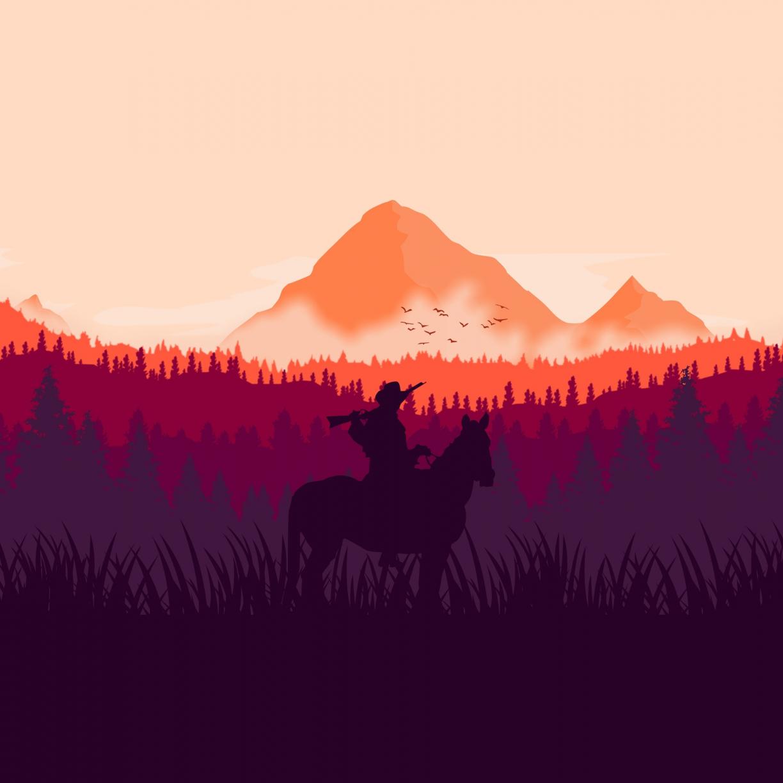 Desktop Wallpaper Red Dead Redemption 2 Horse Ride Silhouette