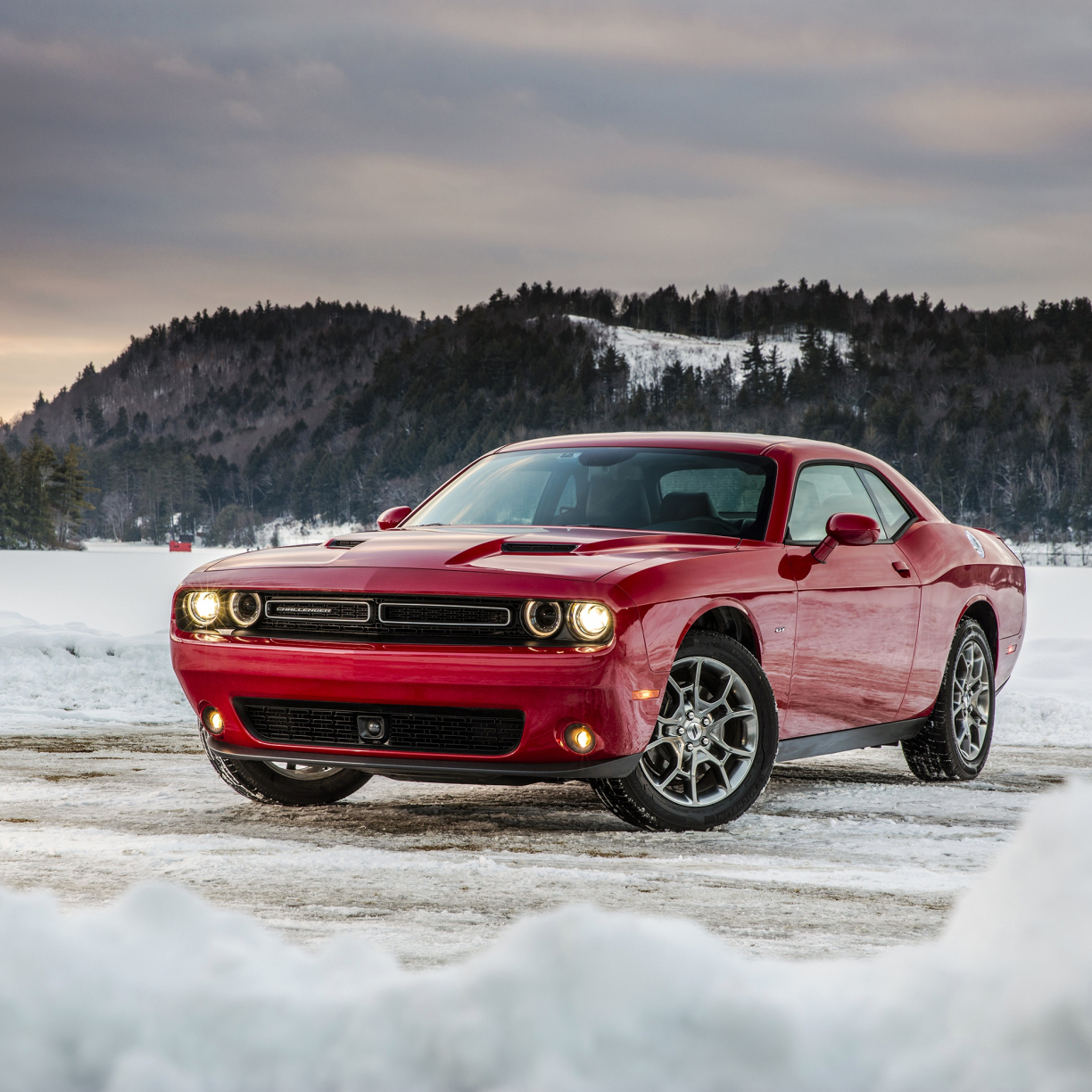 Dodge challenger, red muscle car, 1224x1224 wallpaper