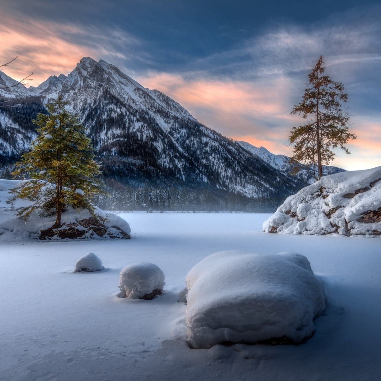 Landscape, mountains, winter, sunset, 1224x1224 wallpaper