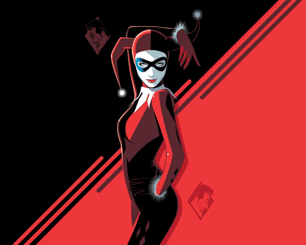 Harley Quinn, minimal, villain, minimal, art, 1280x1024 wallpaper