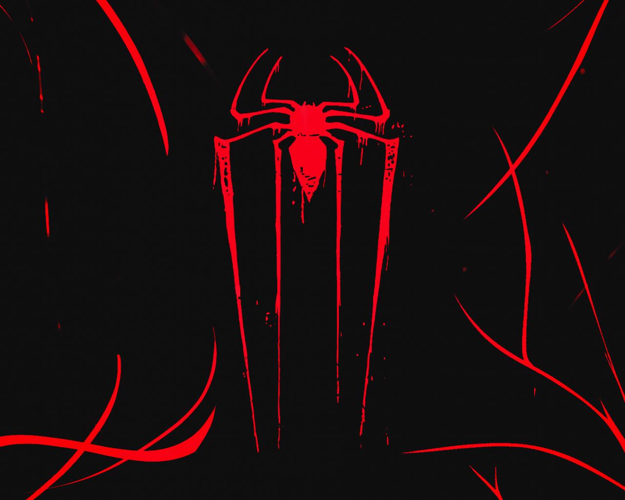 Logo, minimal, spider-man, dark, 1280x1024 wallpaper
