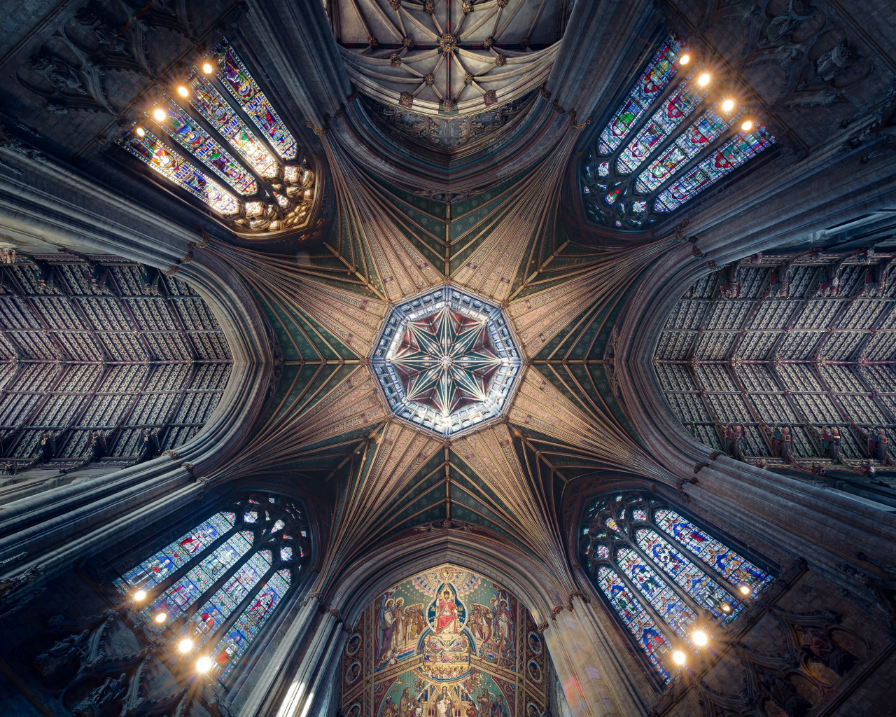 Ceiling cathedral symmetrical interior architecture 4k