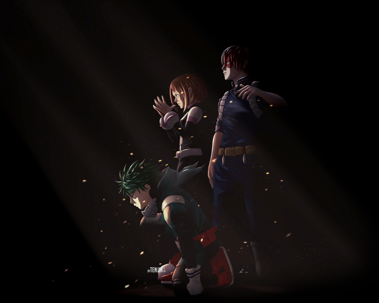 Download 1280x1024 Wallpaper Boku No Hero Academia Dark Artwork