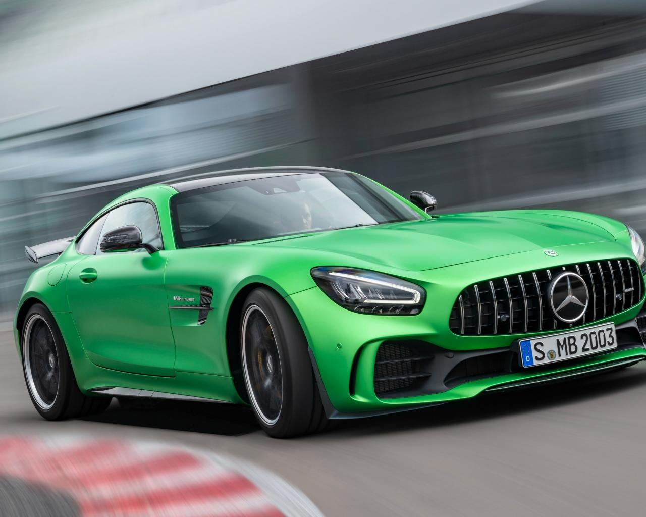 Mercedes-AMG GT, green car, on-road, 1280x1024 wallpaper