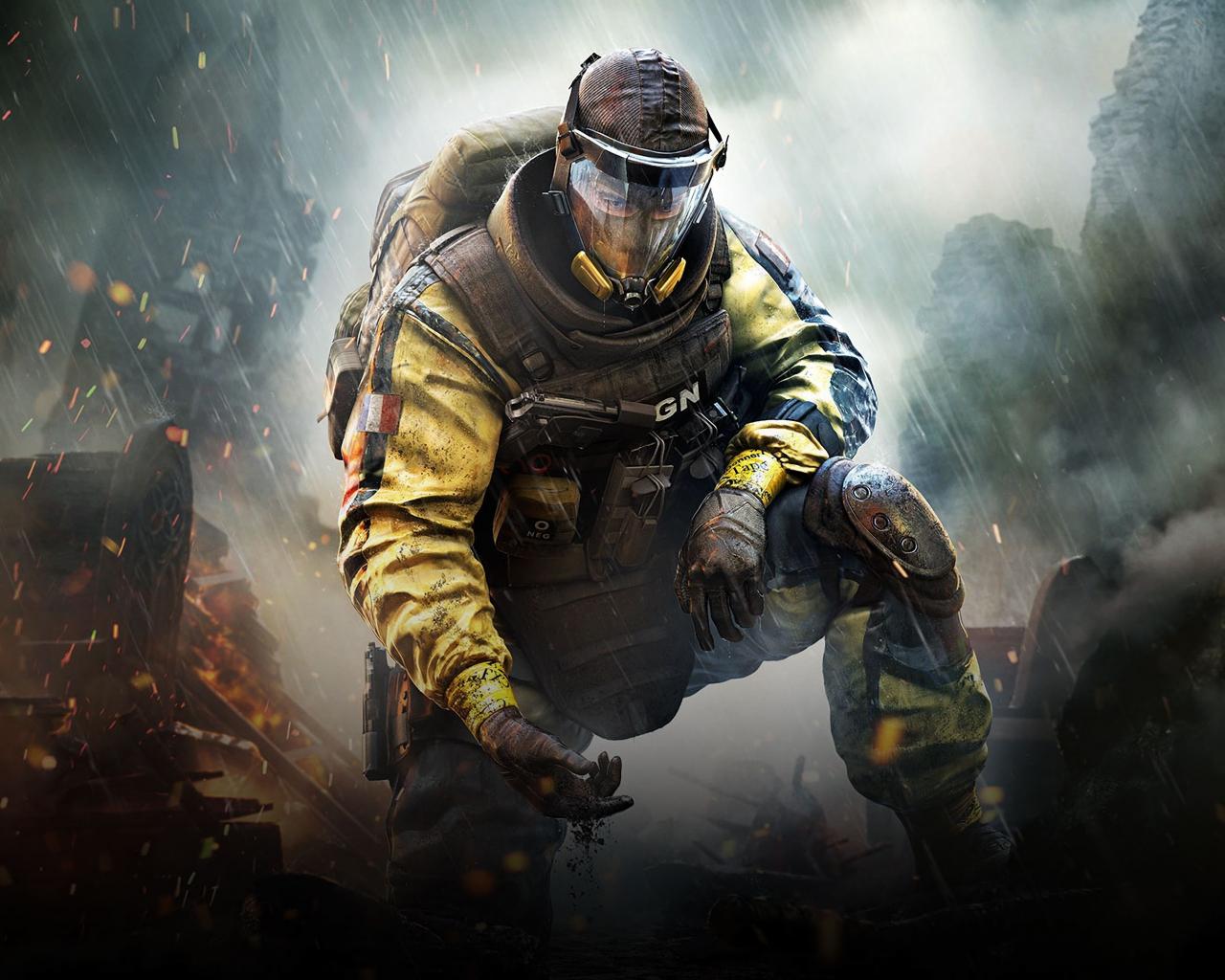Video Game Gas Mask Tom Clancys Rainbow Six Siege Soldier 1280x1024 Wallpaper