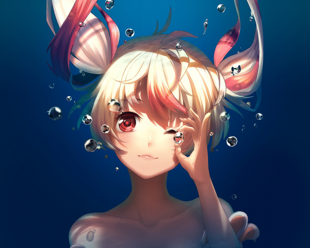 Bubble, underwater, cute, anime girl, Gonna be the Twin-Tail!!, 1280x1024 wallpaper