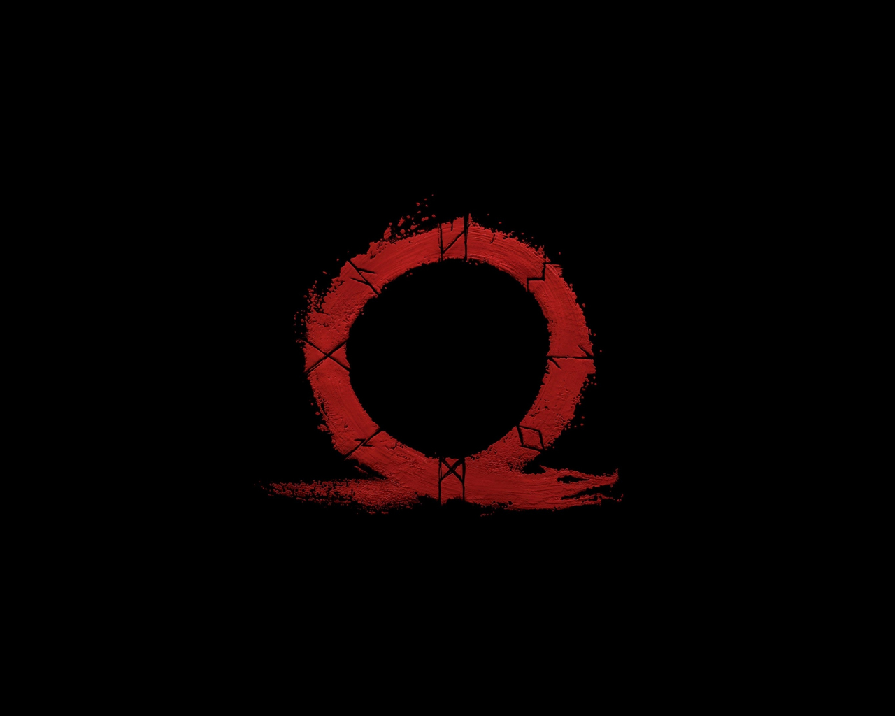 God Of War Omega Logo Video Game Minimal 1280x1024 Wallpaper