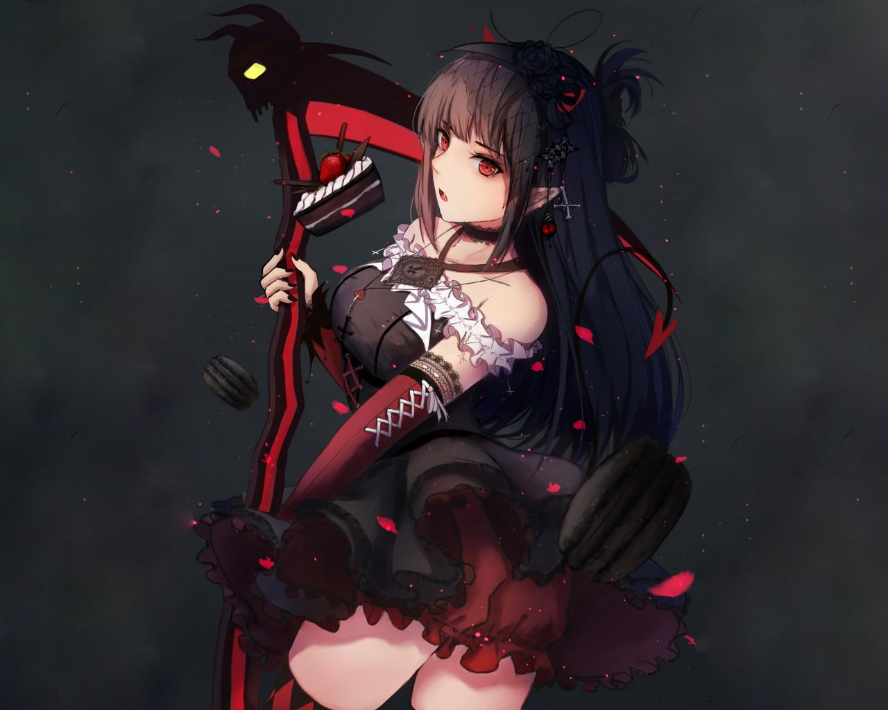 Dark anime girl ruby rose 1280x1024 wallpaper