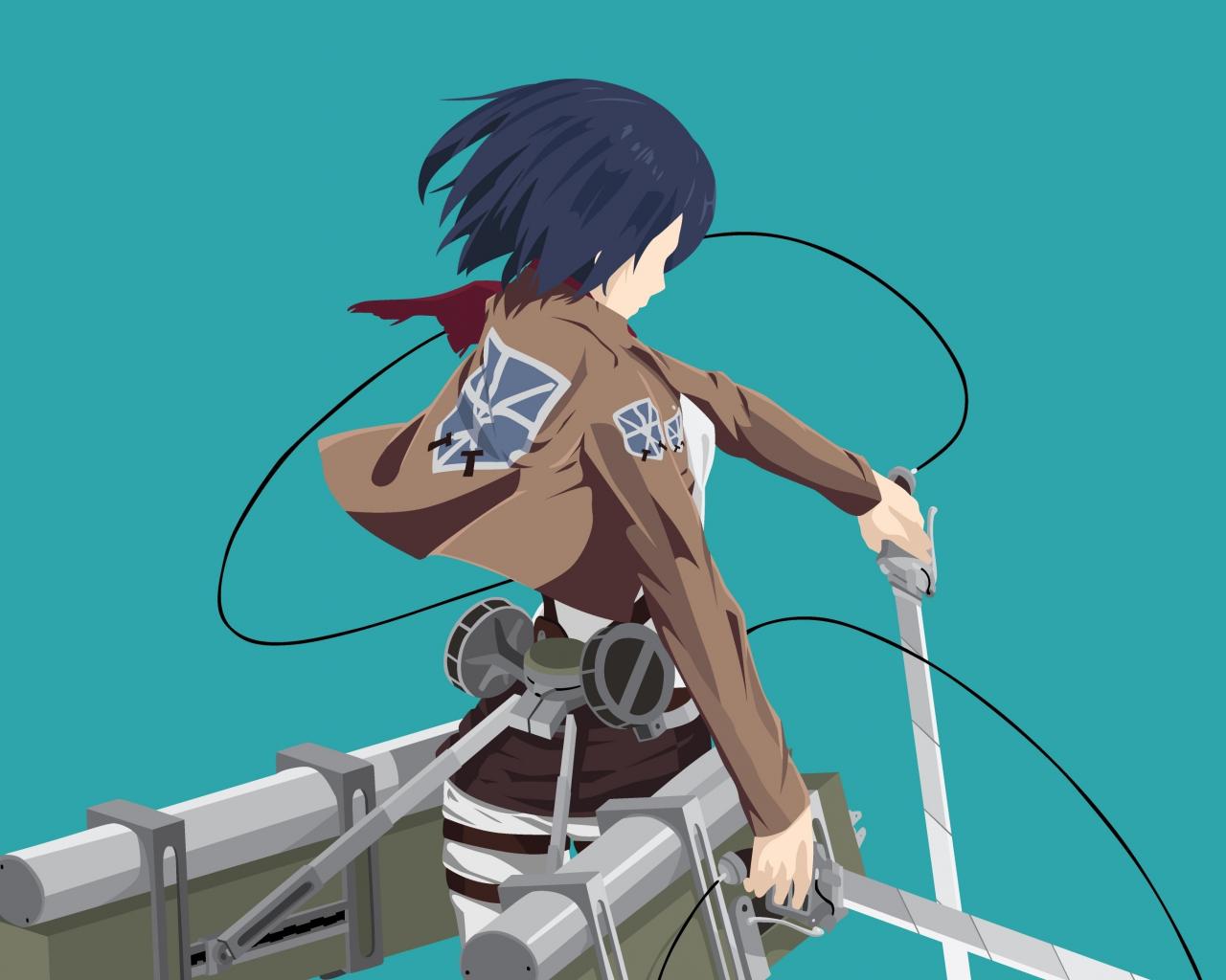 Download 1280x1024 Wallpaper Anime Girl Mikasa Ackerman Minimal