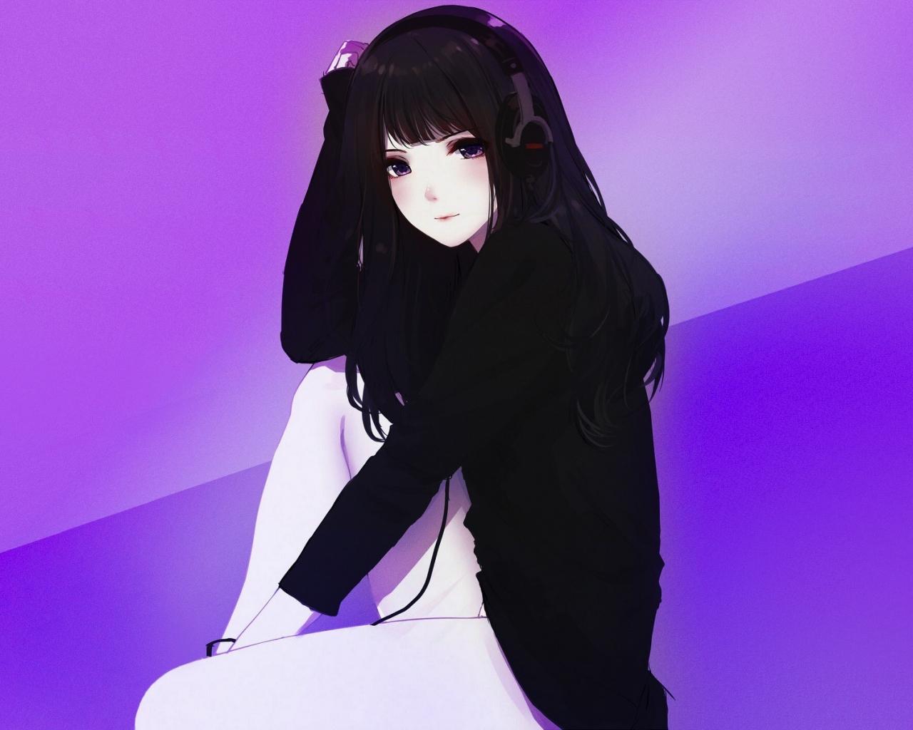 Headphone cute anime girl black hoodie 1280x1024 wallpaper
