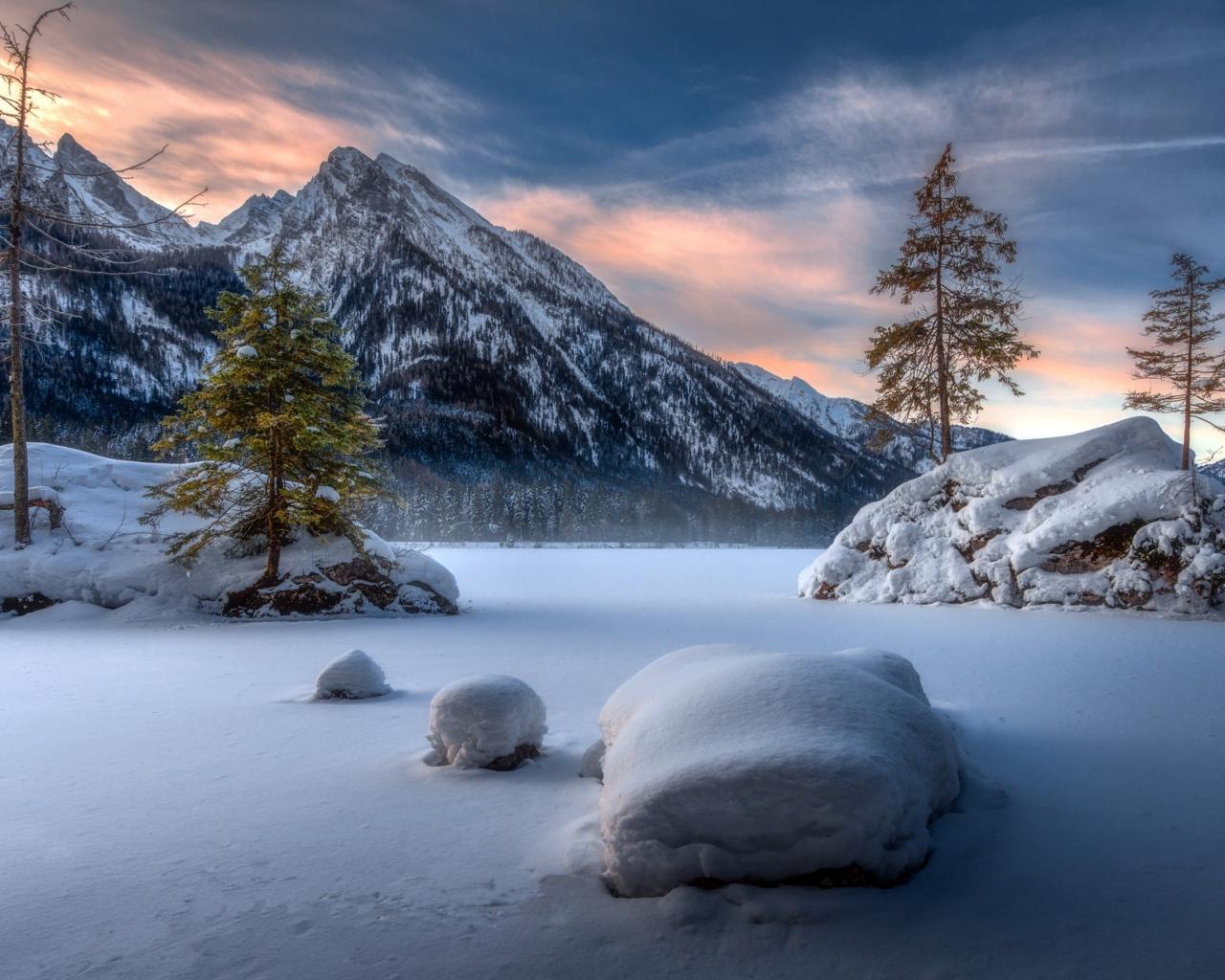 Landscape, mountains, winter, sunset, 1280x1024 wallpaper