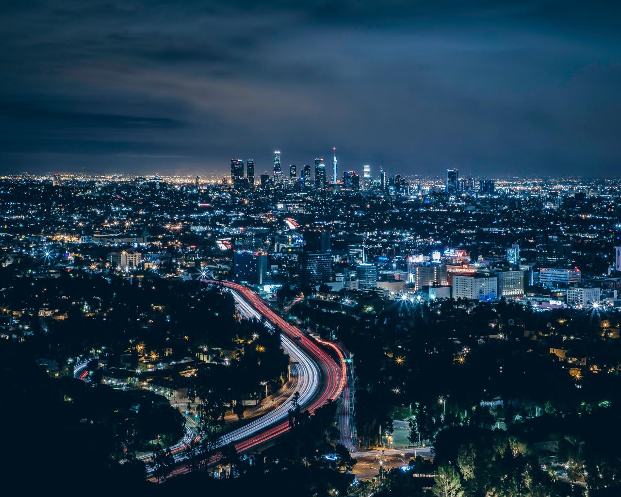 Los Angeles, city, skyscrapers, night, 1280x1024 wallpaper