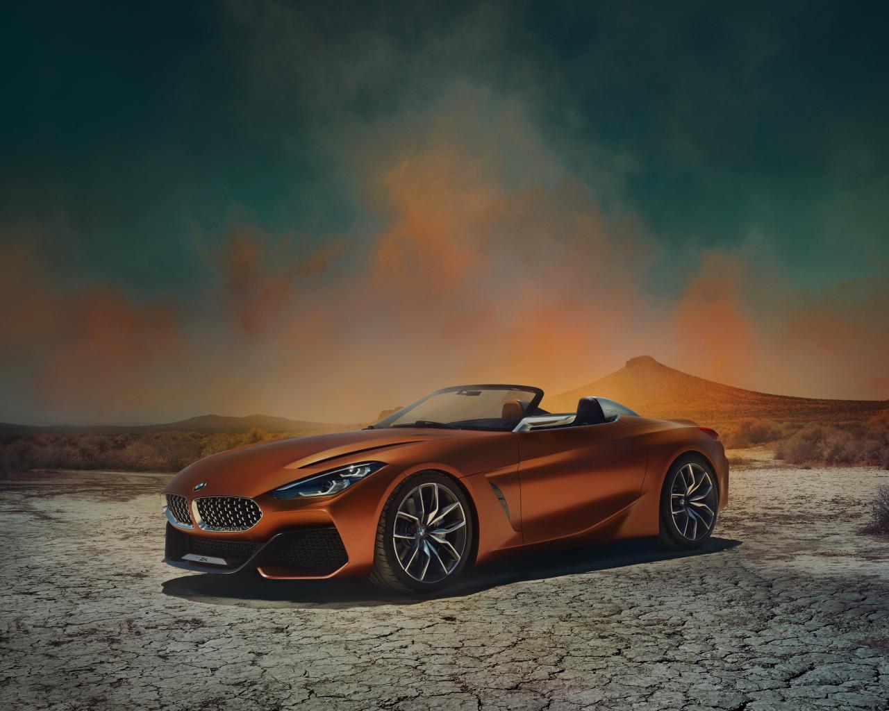 Download 1280x1024 wallpaper orange, sports car, bmw z4 ...