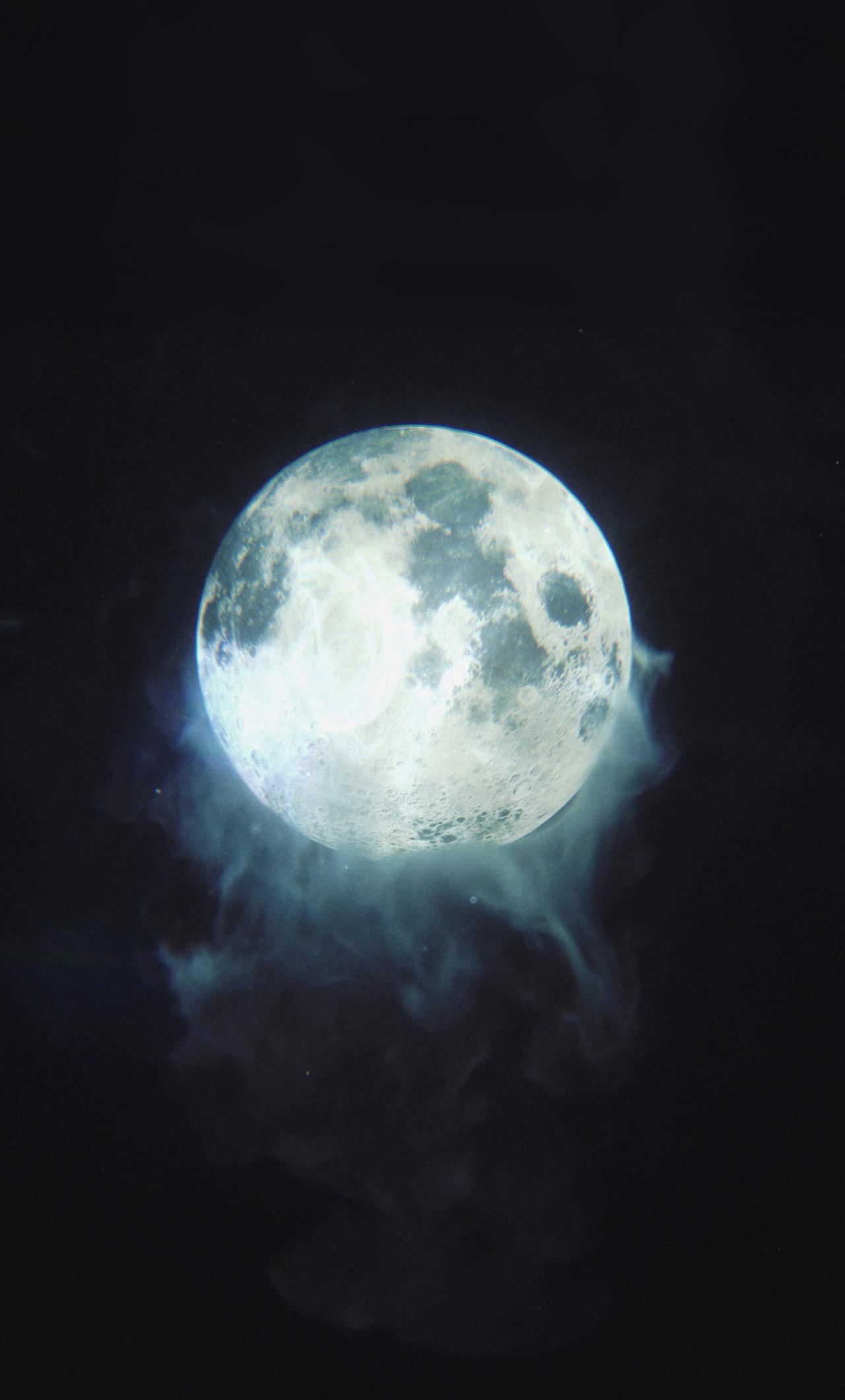 Download 1280x2120 Wallpaper Moon Glow Smoke Dark Iphone