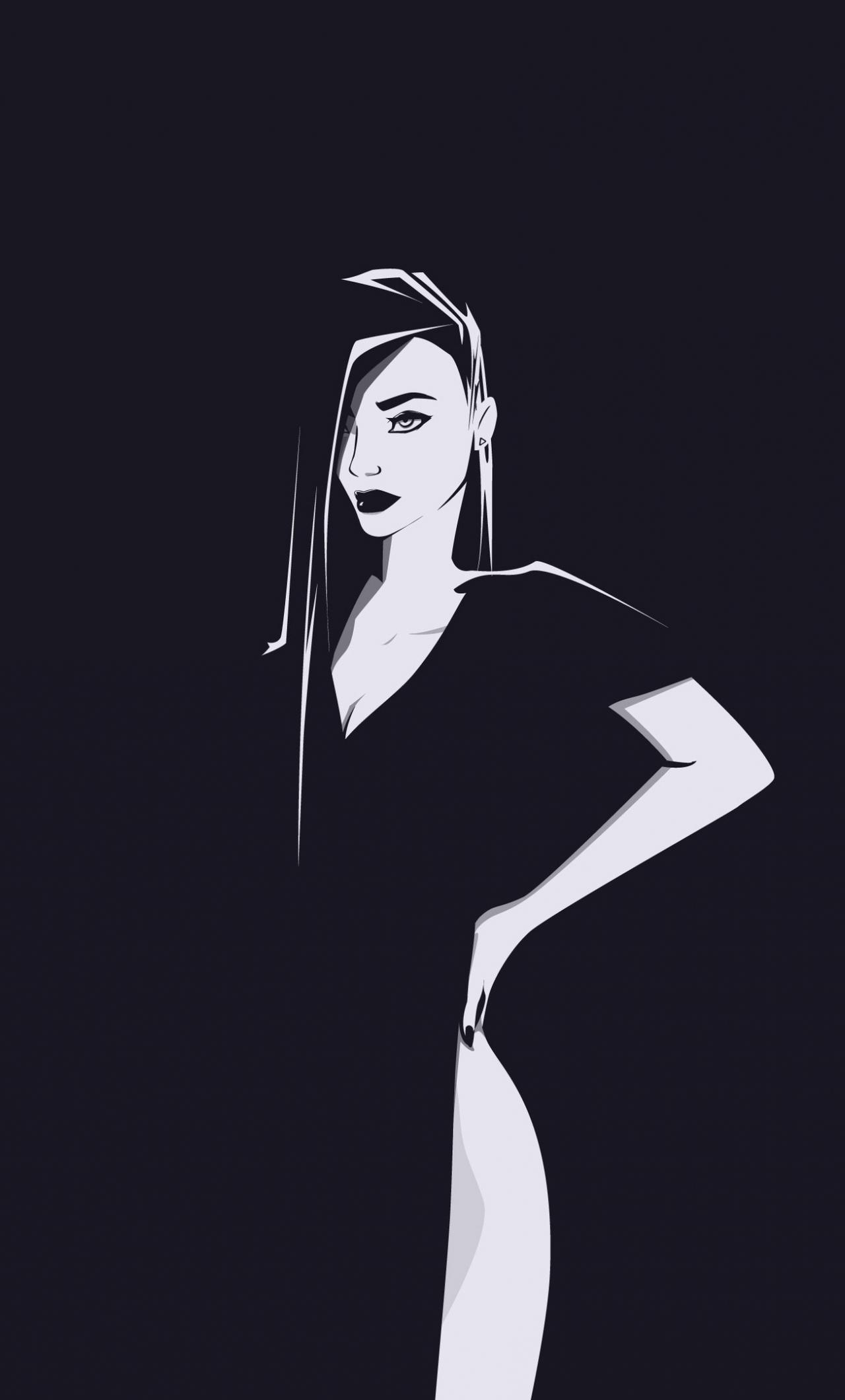 Minimal, urban woman, art, 1280x2120 wallpaper