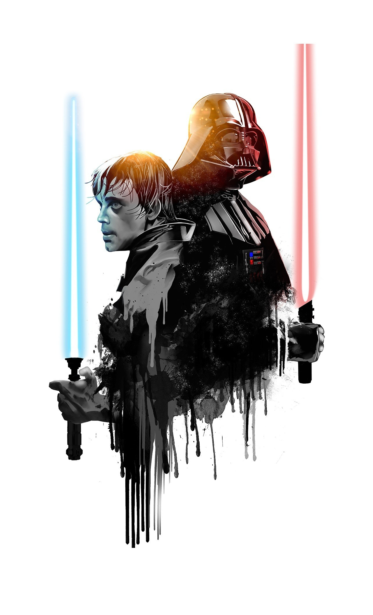 Download 1280x2120 Wallpaper Darth Vader Luke Skywalker Star