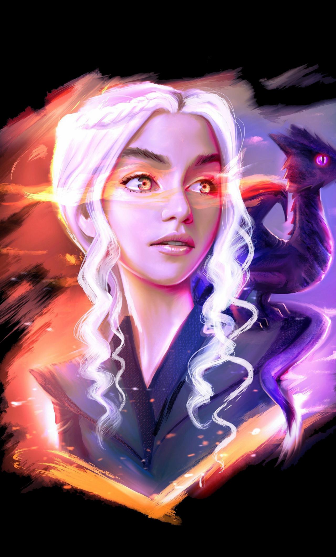 Download 1280x2120 Wallpaper Daenerys Targaryen And Dragon Game