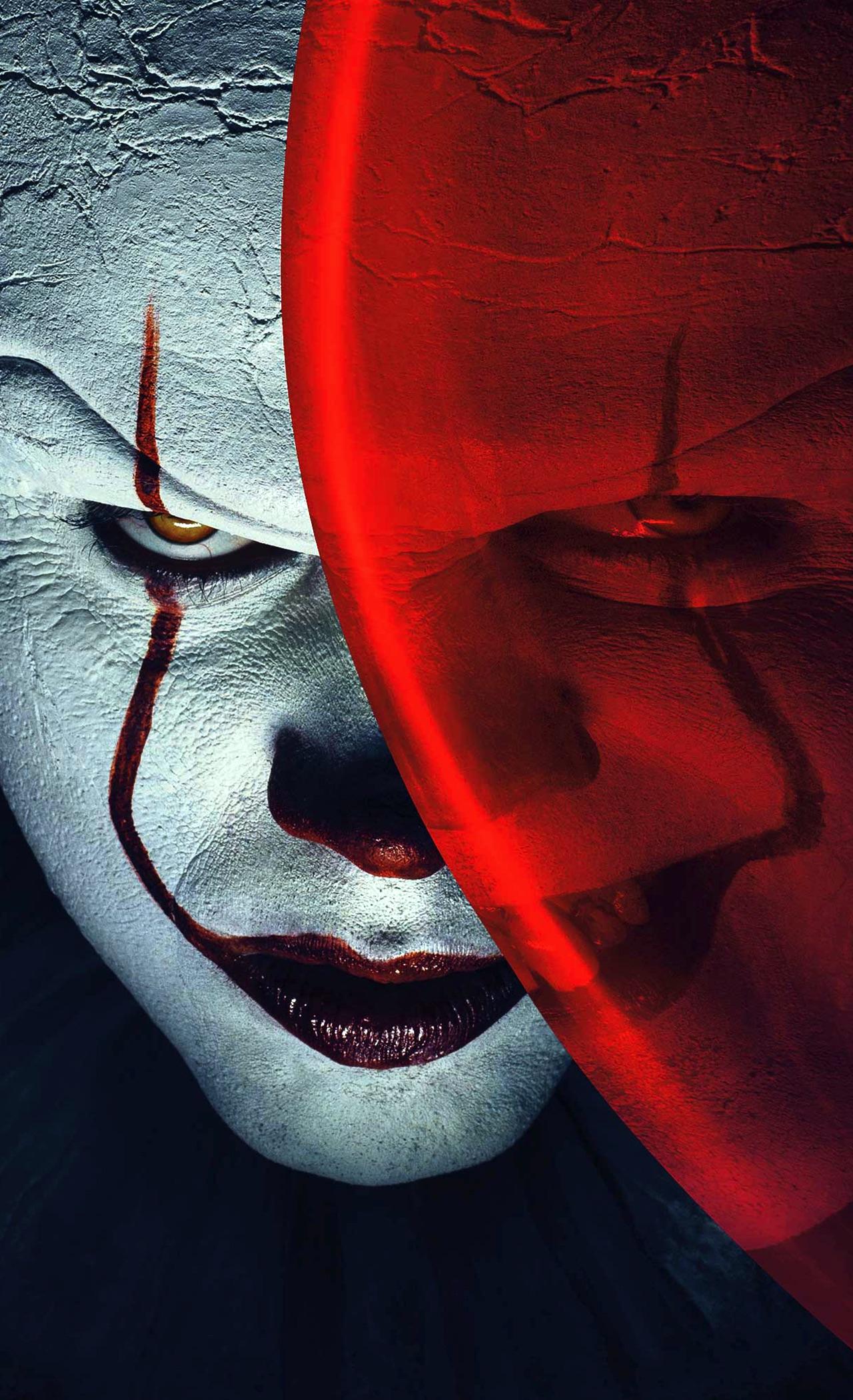 Download 1280x2120 wallpaper joker, clown, it, balloon