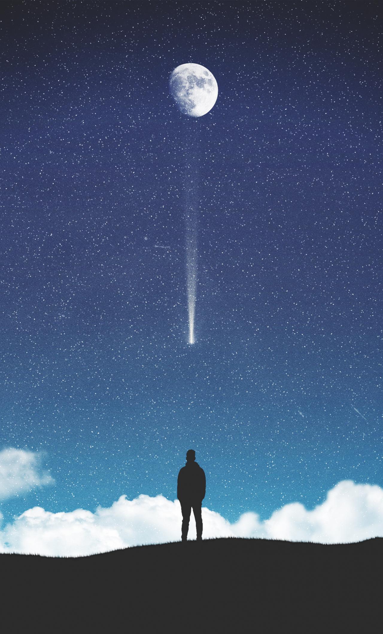 Download 1280x2120 Wallpaper Moon Starry Sky Silhouette