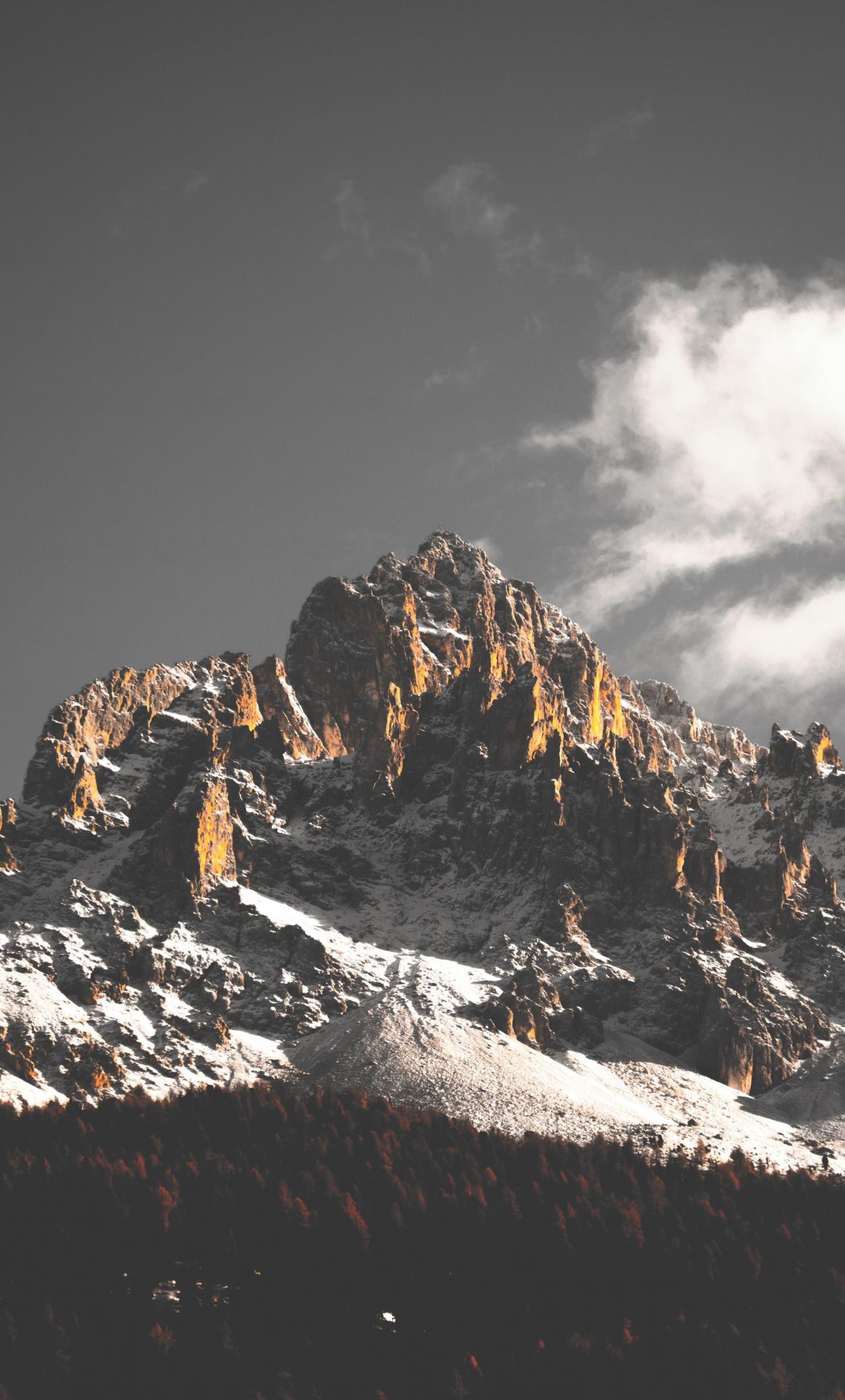 Mountain cliffs, nature, sky, clouds, tree, 1280x2120 wallpaper