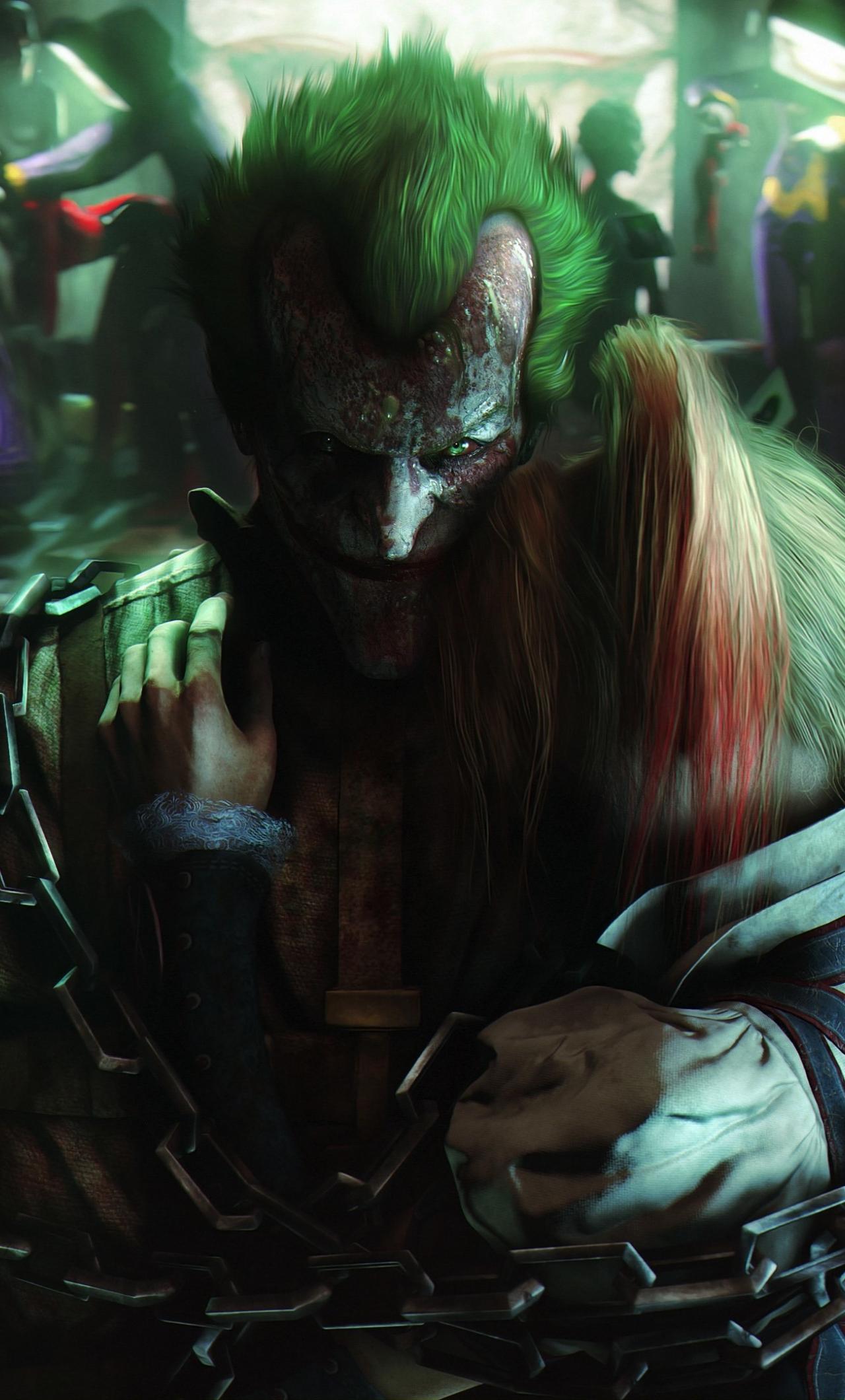 Download 1280x2120 Wallpaper Batman Arkham City Joker