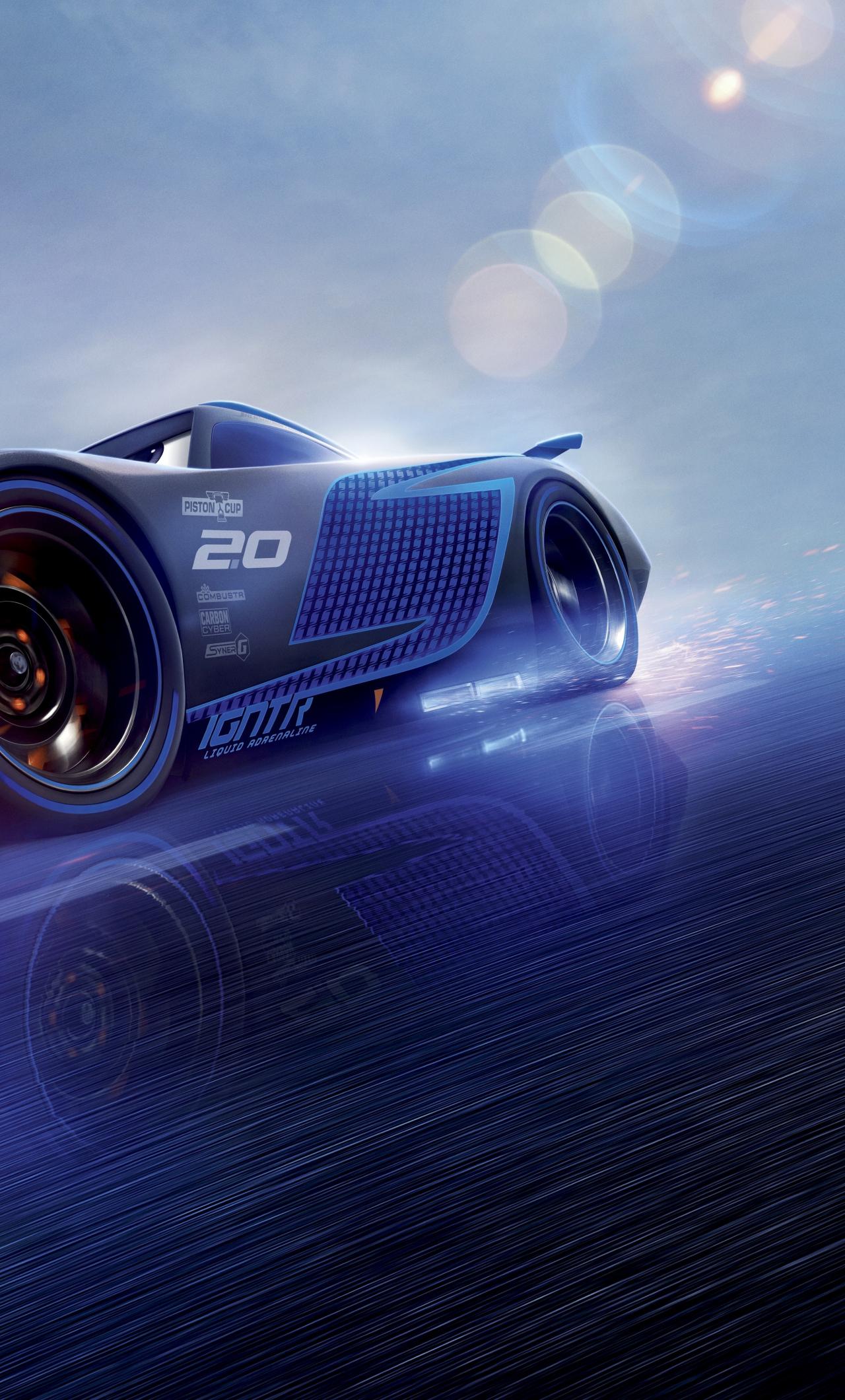 Download 1280x2120 Wallpaper Cars 3 Blue Jackson Storm
