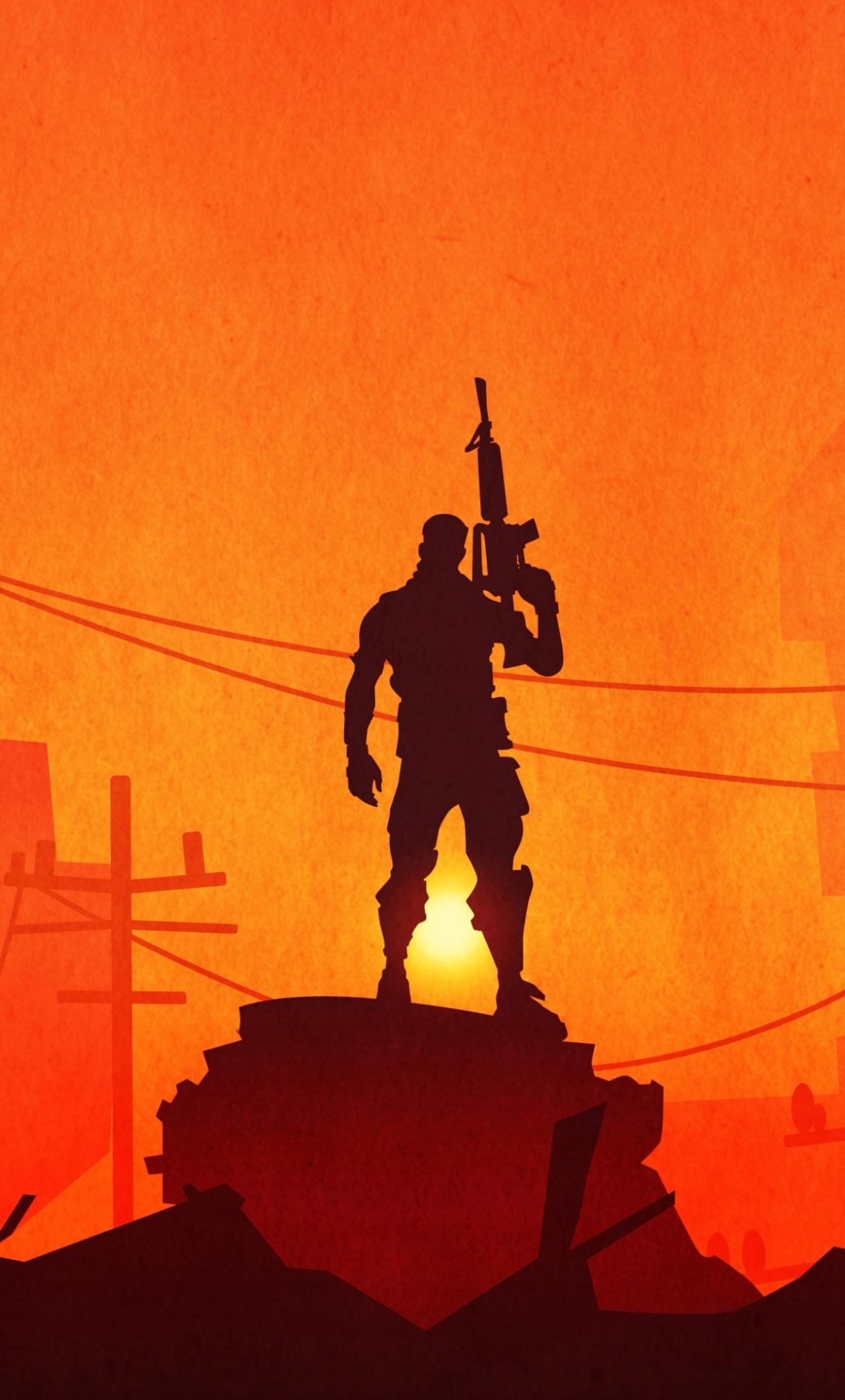 Download 1280x2120 Wallpaper Fortnite Silhouette Video Game