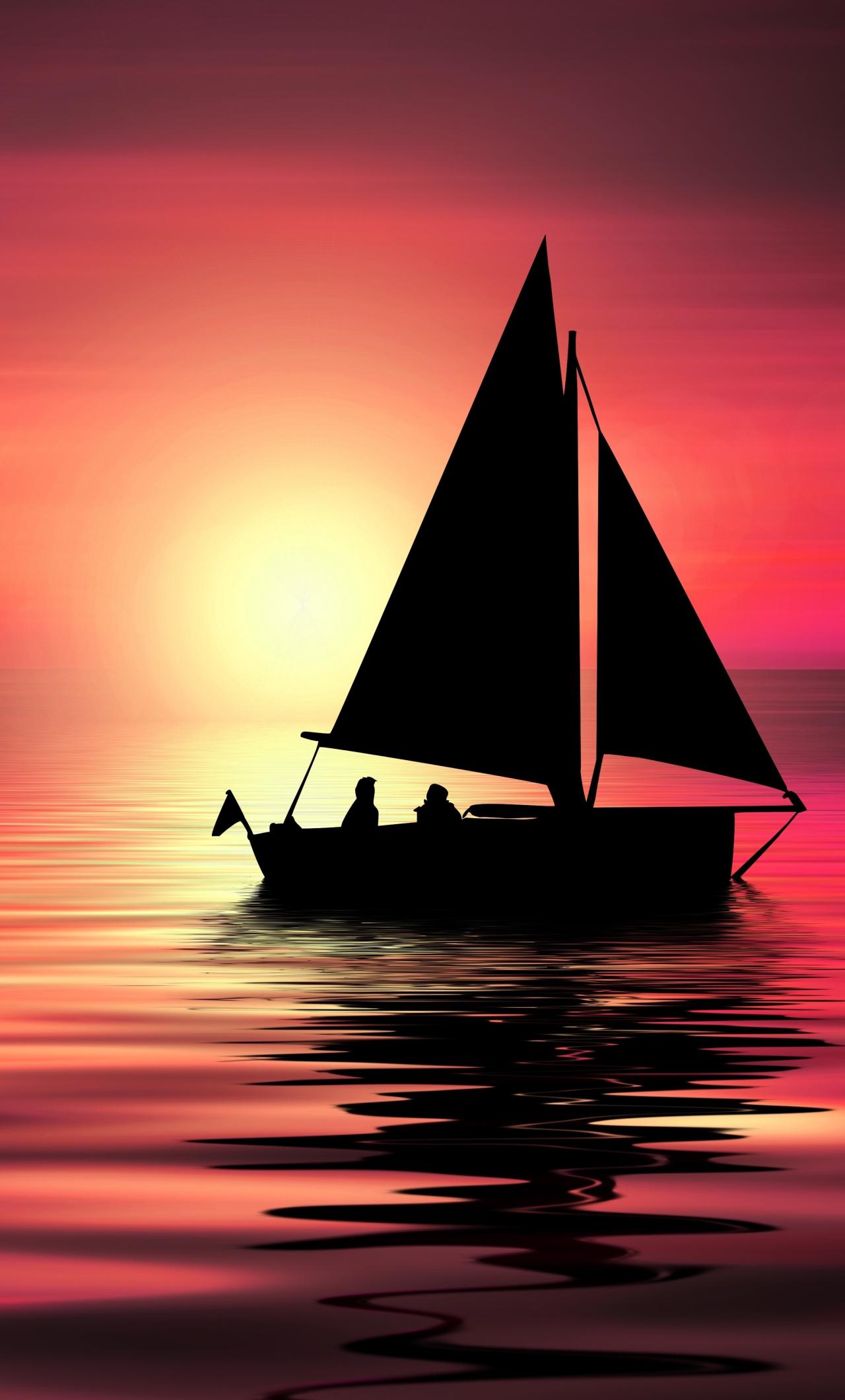 Artwork, sailboat, sunset, silhouette, 1280x2120 wallpaper